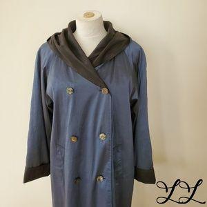 Vintage Jones New York Coat Trench Blue Zip Lining
